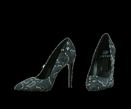 Елегантни дамски обувки от ефектна естествена кожа със змийски принт