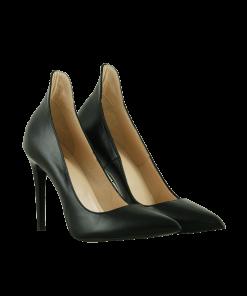 Елегантни дамски обувки от естествена кожа в черно на ток