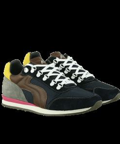 Спортни мъжки обувки в модно съчетани цветове от естествен велур и водонепрпосклив дишащ текстил в синьо и кафяво