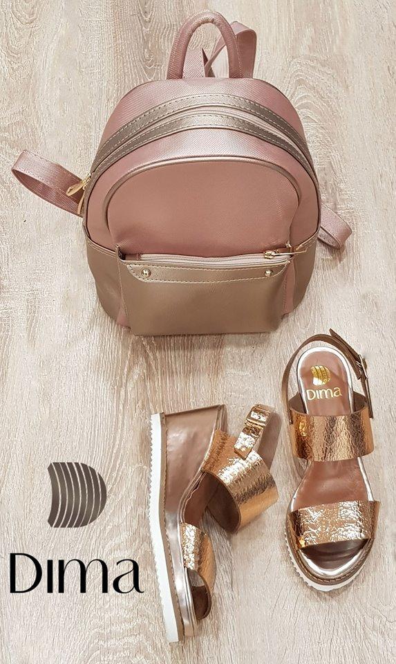 Дамски сандали на платформа от ефектна естествена кожа в цвят бакър