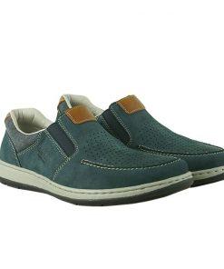 Мъжки сини обувки от естествен набук с перфорация RIEKER
