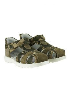 Детски сандали от естествена кожа с камуфлажен принт