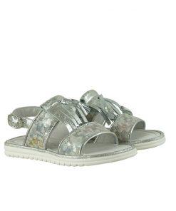 Детски сандали в сребристо с флорален принт