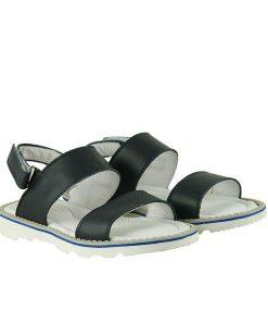 Детски сандали от естествена кожа на равно ходило в син цвят