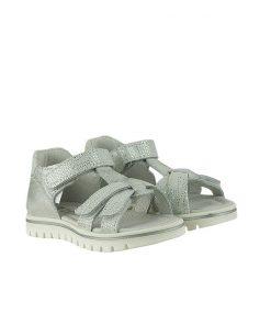 Детски сандали от естествена ефектна кожа с кристални отблясъци в бяло и сребристо