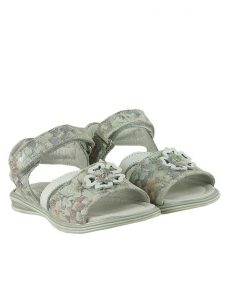 Детски сандали от естествена кожа в бяло с флорален принт