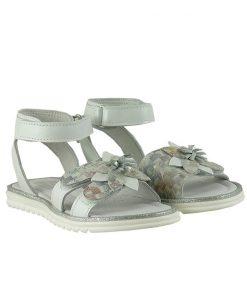Детски сандали от естествена кожа в бяло и флорален принт