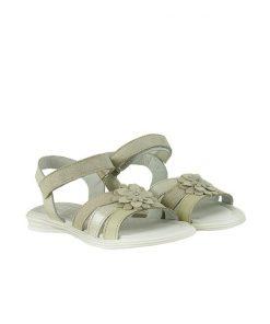 Детски сандали от естествена кожа в бежово и платина