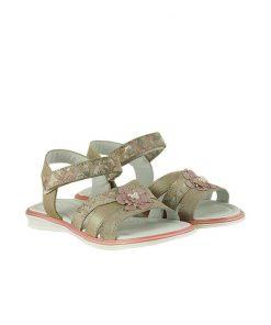 Детски сандали от естествена кожа и ефектен велур с флорален принт