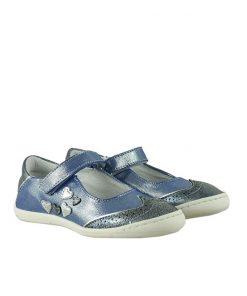 Детски сини обувки от ефектна кожа с кристален блясък (Размер: 30-35)