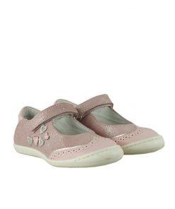 Детски розови обувки от ефектна кожа с кристален блясък (Размер: 30-35)