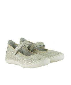 Детски обувки от ефектен велур в цвят платина