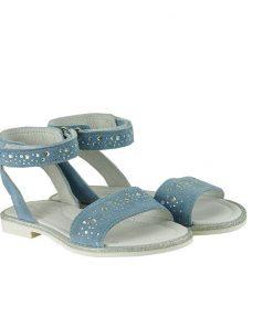 Детски сандали от естествен велур в светло син цвят с цирконий