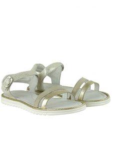 Детски сандали от естествена кожа и ефектен велур в бяло и златисто