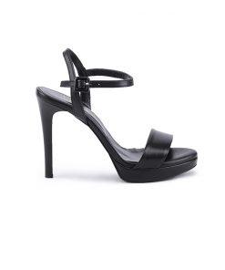 Елегантни дамски сандали от естествена черна кожа на висок ток