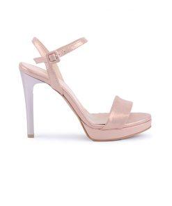 Елегантни дамски сандали на висок ток от ефектна розова кожа