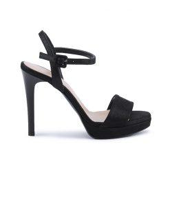 Дамски сандали с кристален блясък на висок ток в черно