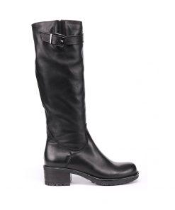 Дамски черни ботуши от естествена кожа на грайферно ходило с ток 13-nero