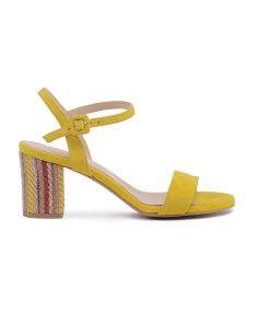 Дамски сандали на ток в жълто