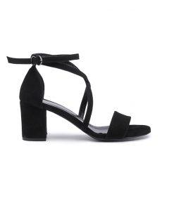 Дамски сандали на ток от велур във черно