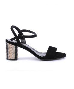 Дамски сандали от черен велур 19218