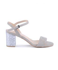 Дамски сандали от бежав велур на ток