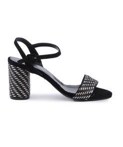Стилни дамски сандали на среден ток в черно и бяло