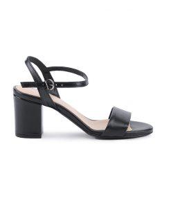 Стилни дамски сандали от естествена напа в черно