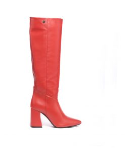 Дамски ботуши от естествена телешка напа в червено
