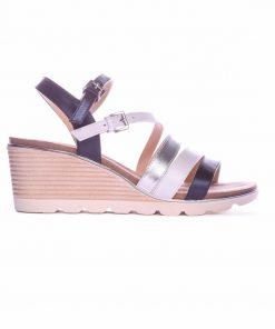 Дамски сандали в синьо,бяло и сребро на платформа