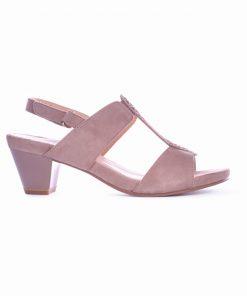 Дамски сандали в бежаво от велур-305