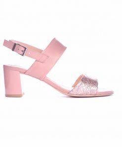 Дамски сандали в розово и сребристо на ток