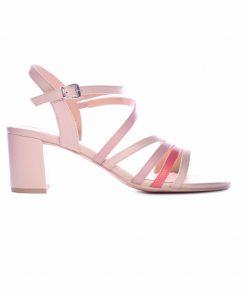Дамски сандали на ток от естествена кожа в бежаво и розово -304