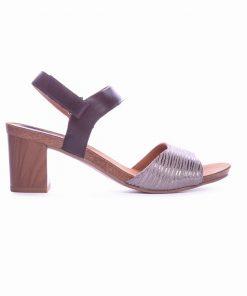 Елегантни дамски сандали от естесвена кожа е черно и сребро на ток