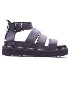 Дамски сандали от черен шегрен на платформа DIMA-304
