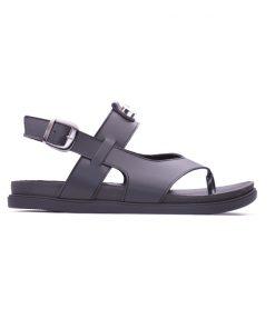 Черни дамски сандали от мека напа декоринани с цирконий DIMA-306