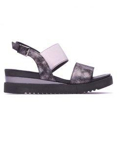 Дамски сандали на платформа в черно и сребристо DIMA-123