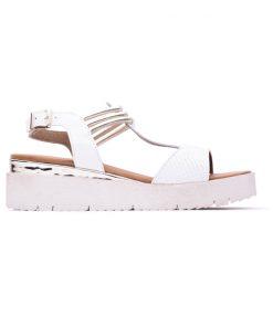 Дамски сандали в бяло и злато от естествена ефектна кожа на платформа DIMA-151