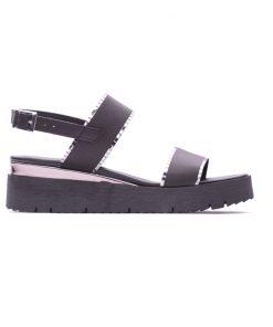 Черни дамски сандали от естествена кожа-205