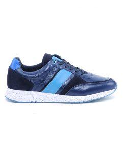 Мъжки спортни обувки от естествена перфорирана кожа в синьо