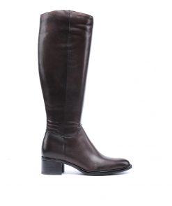 Дамски ботуши в тъмно кафяво от мека кожа/301