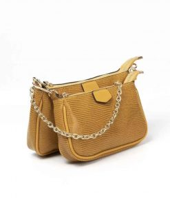 Дамска чанта в жълто от ефектна принтирана кожа 722