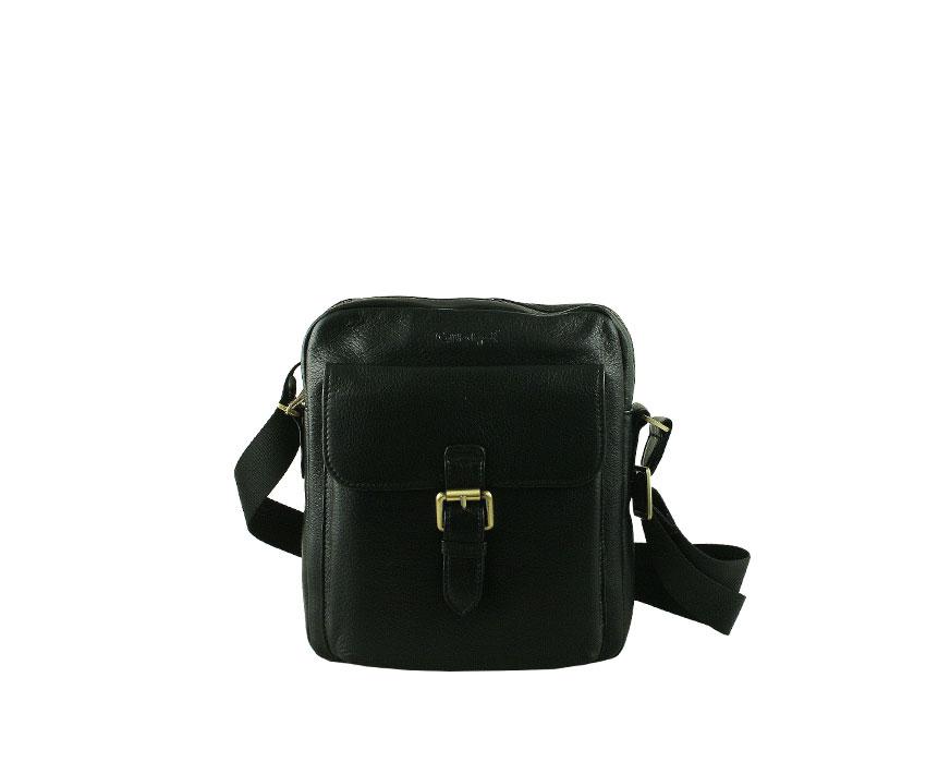 Малка мъжка чанта от естествена кожа в черен цвят