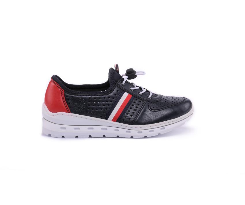 Ежедневни дасмки обувки от естествена кожа в тъмно синьо и червено