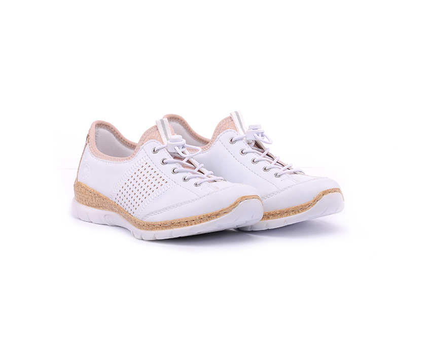 Ежедневни дамски обувки в бяло и розово с перфорация