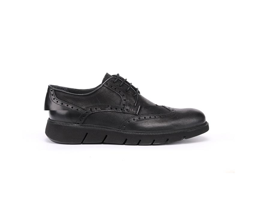 Мъжки обувки от естествена ефектна кожа с оксфорд декорация 68