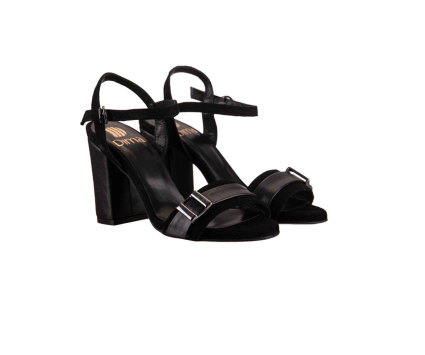 Черни дамски сандали на ток от естествен велур18238