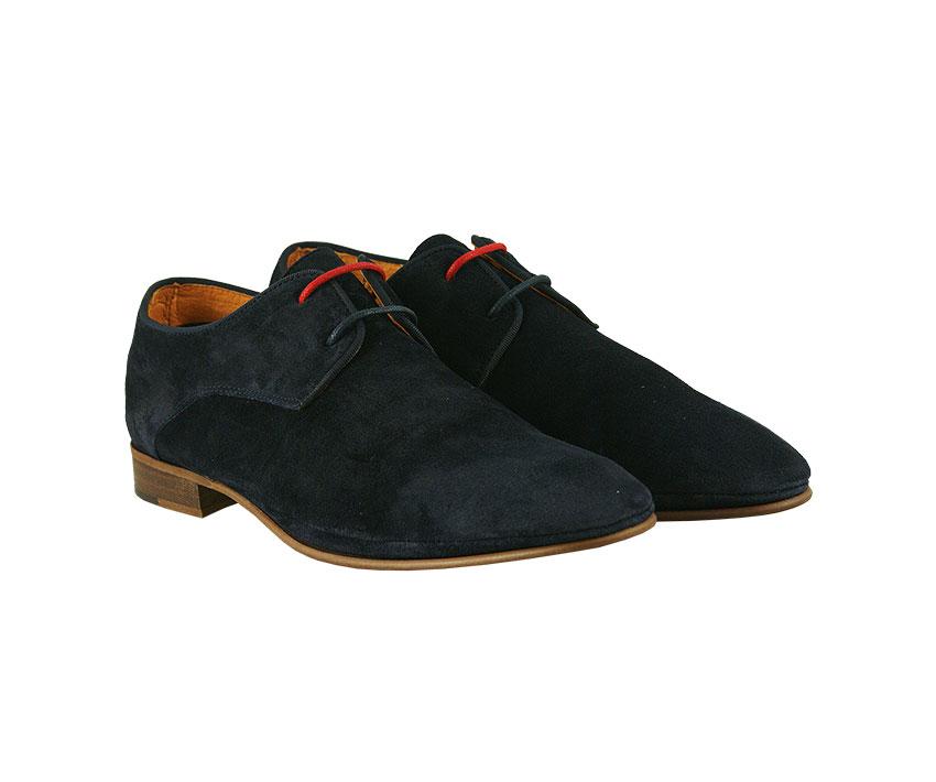 Мъжки обувки от естествен велур в тъмно синьо