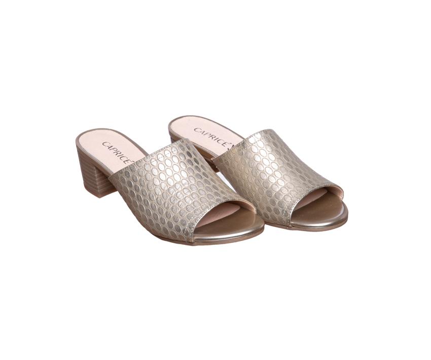 Дамски чехли от естествена кожа CAPRICE khaki