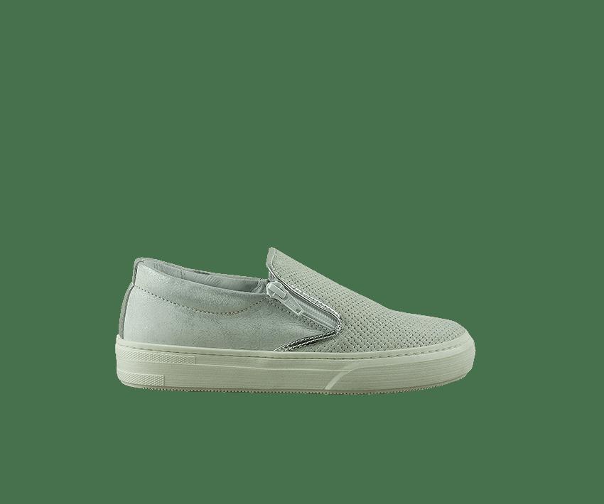 Юношески обувки в сребристo от естествена кожа и велур (Размер: 30-35)